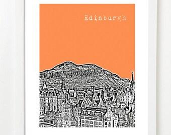 Edinburgh Art Print - Arthur's Seat - Scotland Skyline Poster -  VERSION 5