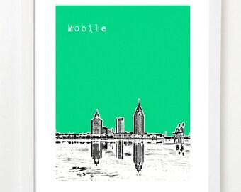 Mobile Alabama Skyline Art Print - Mobile Poster - Mobile AL Gifts