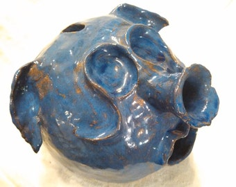 Vintage Grotesque Pottery Pig Bank