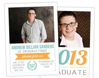 Senior Graduation Announcement Card Template for Photographers Photoshop Templates for Photographers Photo Card Template - GD106