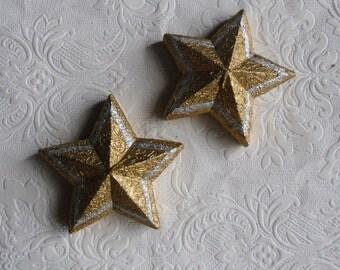 Vintage Christmas Ornaments - 2 Gold Star Candles - Christmas Decorations - Christmas Display - Holiday Decor