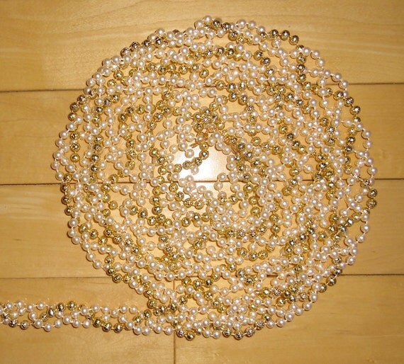 Bead Garland - 3 Twisted Strands of Plastic Beads - 2 Strands Faux Pearl and 1 Strand Gold 8 Feet Long