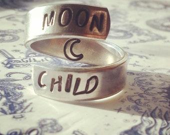 Moon child  aluminum ring swirl style  1/4 inch
