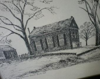 Pennsylvania Landmark Original Pen and Ink, MB Jones 1964