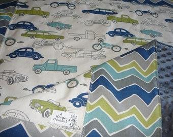 Vintage Cars Crib Size Blanket
