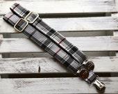 Gentleman's  Suspenders (Grey, Black and Burgundy Plaid)