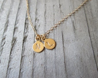Gold Double Tiniest Initial Necklace // Hand Stamped // Letter // Number