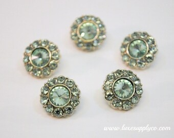 Mint Acrylic Rhinestone Buttons with loop - 15mm acrylic rhinestone embellishments - Gorgeous! - Your Choice: Set of 5 or 10