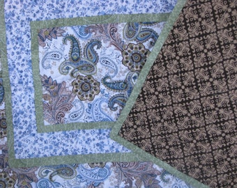 Quilted Table Runner - Table Topper - Blue, Brown and Green Paisley