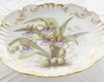 Antique Art Nouveau German Decorative Serving Plate, Cottage Style, French Shabby Chic, Botanicals, Wedding, Wall Decor, Ca. 1893, Marked