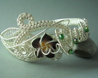 Phantasy Garde wire wrapped silver plumeria bracelet cuff