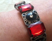 Red and Black Recycled Bracelet