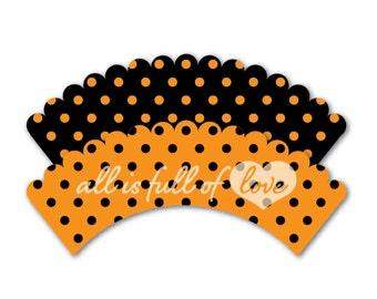 HALLOWEEN Cupcake Wrappers Printable Polka Dots Liners ORANGE Black cupcake wrap DIY cupcake holder trick or treat party printable Download