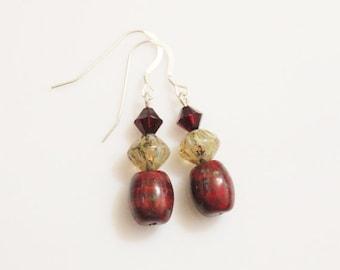 Dark Red Glass Earrings, Czech Bead Earrings, Glass Earrings