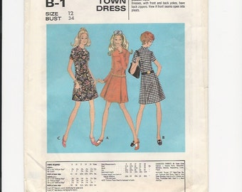 Vintage UNCUT Sewing Pattern McCalls B-1 for Dress, Sz 12, 1970s
