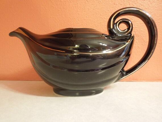 Ebony hall 109868 black hall pottery aladdin teapot gold - Aladdin teapot ...