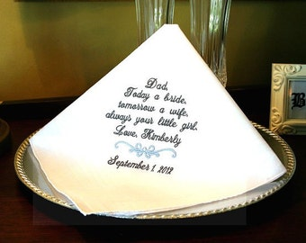 Wedding Handkerchief - Hankerchief - Father of the Bride -Today a BRIDE- Tomorrow a WIFE -Gift for Father of the Bride -Wedding