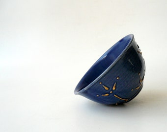 Ceramic Dessert Bowl / Ice Cream Bowl / Tea Bowl In Royal Blue with Blooms of Gold by Cecilia Lind, StudioLind