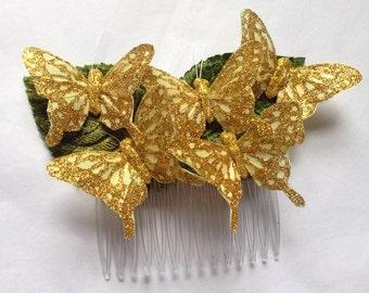 Golden Monarch Glen feather butterfly hair comb hairpiece bridal weddings boho golden head piece hair accessory