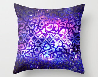 TRIBAL LEOPARD GALAXY Animal Print Throw Pillow 16x16 18x18 20x20 Cushion Cover Aztec Native Pattern Geometric Purple Ombre Space Galactic
