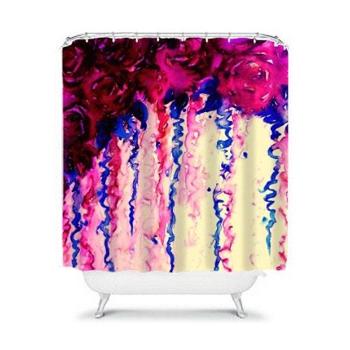 Petals On Parade Oxblood Indigo Blue Floral Fine Art Shower