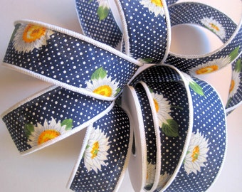 """Daisy And Dots Cotton Wired Ribbon, Navy Blue, 1 3/8"""" inch wide, 1 yard, For Gift Packing, Wreaths, Center Pieces, Home Decor"""