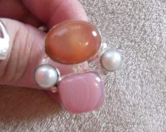 Handcrafted Ring-MARKED 925-River Peach Agate & Pearl-Size 7-R72