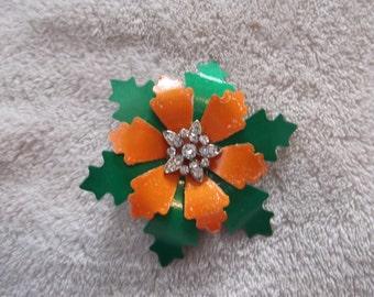 Handcrafted Pin Brooch-Enamel Flower-Orange & Green-P2401