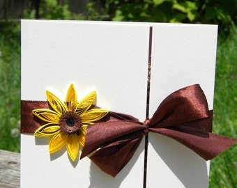 Sunflower and dark brown wedding invitations
