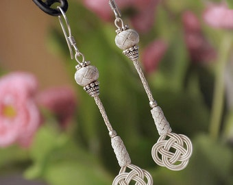 Pure Silver Celtic Knot Long Earrings, Infinity Love Knot , Authentic Earrings, Nautical, Ethnic Inspired, Kazaz Work, Tassel Earrings, OOAK