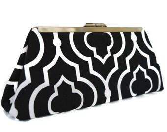 Modern Black & white  wedding purse/ Bridal accessory/ Wedding clutch purse/ Black evening purse / Bridesmaids gift idea/ Holiday gift idea