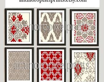 Red Beige Tan Ikat Damask Vintage Modern Art Print  - Set of (6) 8x10 Prints (Unframed) Custom Colors, Sizes Available
