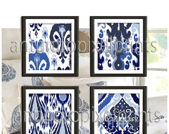 Navy Indigo White Ikat Damask Prints, Set of (4) Wall Art Prints, Custom Colors Sizes Available, Custom Colors Available