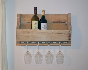 Upcycled Wooden Wine Rack with Glass Holders (Raw pallet wood)