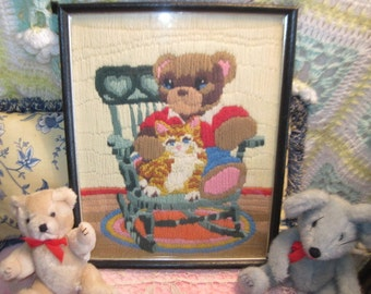 Darling Bear Embroidery  Picture Wall Hanging / Baby Nursery Decor   / Marked Down to Clear out