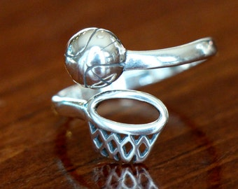 Basketball Ring- Basketball Gift- Basketball Jewelry- Sterling Silver- Basketball Player- Senior Gift- Adjustable Size