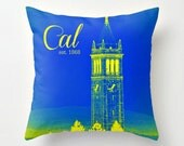 BACK TO SCHOOL - Blue and Yellow Berkeley Throw Pillow Cover w/ Blue Tassel - Student Dorm Life - Apartment Living - Home Decor