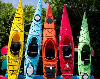 Kayaks Rainbow 8x10 PRINT Wall Decor Artwork Fine Photo Room Home Multicolor yellow blue orange red green Poster Picture Gift for him or her