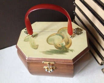1960s Wood Box Purse Retro Style Mushrooms