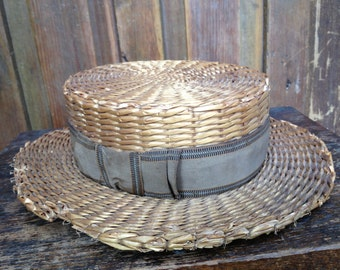 Antique 1900s Straw Boater Hat, Brown Ribbon Bow, Myers Brothers, Made in ILLINOIS, USA