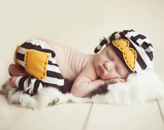 Boy Pants with knee patches OR back pockets,Striped pants,Baby pants Boy Newborn Photo Prop-Black white stripes,mustard yellow-Made to Order