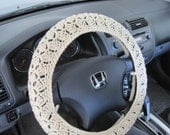 Crochet Steering Wheel Cover, Wheel Cozy - oatmeal (CSWC 2AA)