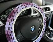 Crochet Granny Square Steering Wheel Cozy - dark orchid/medium purple/lilac/aran (CGSSWC 1D)