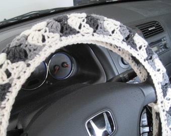 Crochet Steering Wheel Cover, Wheel Cozy - aran/true grey/dark grey  (CSWC 2HH)