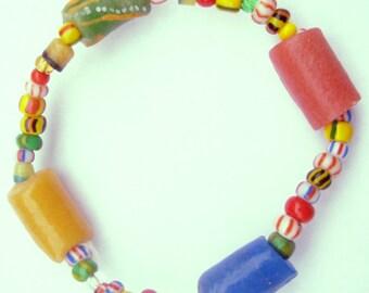 Handmade African Bracelet (Glass Powder & Beads)