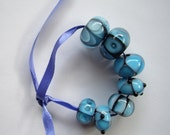 Blue, handmade lampwork beads in various design and size, SRA