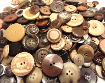 35 piece assorted earth tone button mix, 12-28 mm, (27)