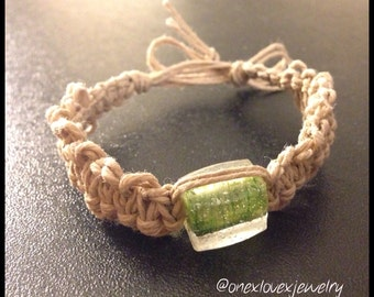 Green Fishbone Hemp Bracelet B238
