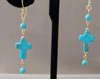 Free Shipping - Blue-Green Magnesite Cross Gold Pierced Earrings
