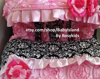45%off Baby Car Seat Cover Canopy Blanket, Infant Car Seat Cover Canopy Blanket, 3D Rosette Damask Pink, Baby Girl, fit most car seat,